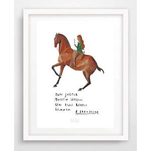 Artprint A5 Aquarellkunst mit Zitaten namhafter Reiter
